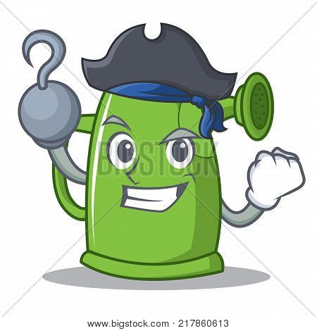 Pirate watering can character cartoon vector illustration