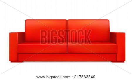 Red modern luxury sofa for living room, reception or lounge. Icon of single object, realistic design, vector isolated on white background, 3D illustration