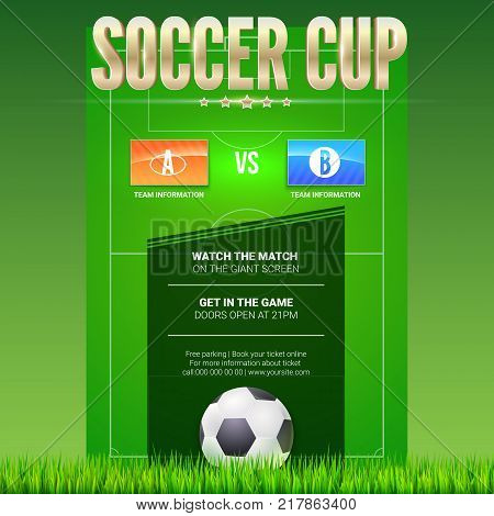 Soccer event poster design with green football game field. Text design and and place for emblem of participants. 3D illustration, template for poster, print design for events.