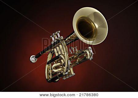 Cornet Trumpet Isolated On Red Spotlight