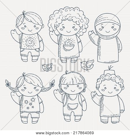Set of cute doodle children. Kindergarten, camp, people collection. Coloring illustrations.