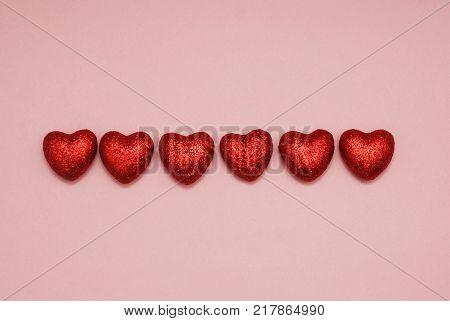 Arrangement of Red Glittere Shinny Decorative Hearts