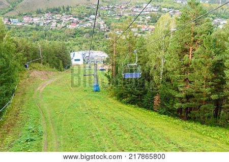 Chairlift On The Top Mountain To Russian Reserve Stolby Nature Sanctuary. Near Krasnoyarsk
