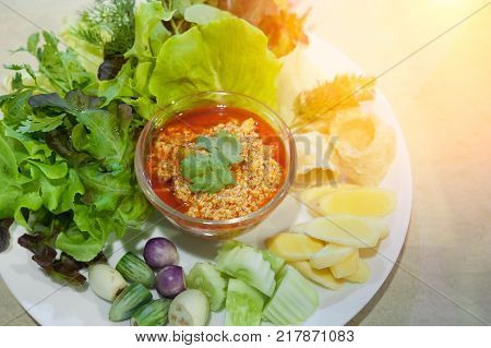 Northern Thai Tofu and Tomato Spicy Dip Selective focus (Thai name is Nam prik ong) / Thailand Food of Vegetarian No meat-Made from tofu (soy)