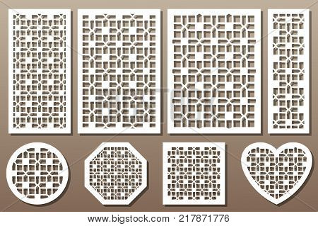 Set decorative elements for laser cutting. Geometric ornament pattern. Line template. The ratio 1:2, 2:3, 3:4, 1:3, round, octagon, square, heart.Vector illustration.