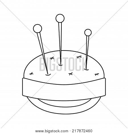 line pin and pincushion sewing tool object vector illustration