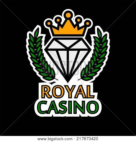 Royal casino poker logo template. Vector online bet gambling and internet casino game isolated symbol of golden crown and diamond in laurel
