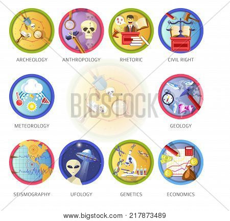 Education and science disciplines for school or university study subjects. Vector flat circle icons of archeology, economics and anthropology or rhetoric and meteorology or geology and genetics
