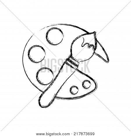 figure palette with paintbrust tools art design vector illustration