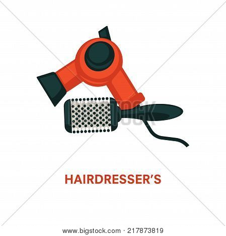 Hairdresser equipment or beauty salon tools. Vector flat professional coiffeur hair dryer and hairbrush comb icon for hairdressing