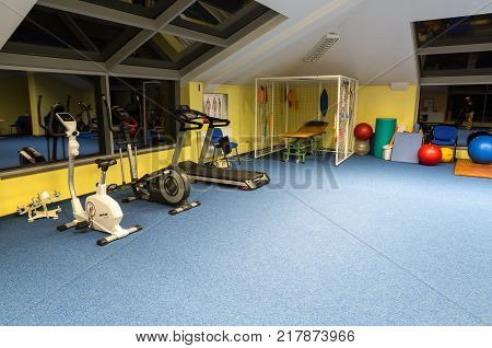WISLA POLAND - OCTOBER 23 2105: Gym and fitness room at the rehabilitation center for the disabled in Wisla Poland