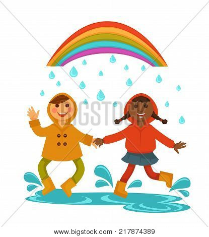 Rain weather happy children under rainbow and raining drops. Boy and girl kids in raincoats dancing or jumping in puddle in rainy day. Vector flat isolated icon