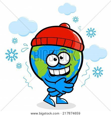 Vector illustration of a cartoon planet earth with a hat in winter getting cold in the snow.