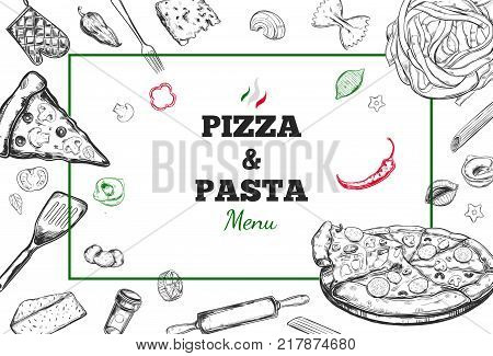 Pizza and Pasta vector Menu cover. Design template with different hand drawn illustrations