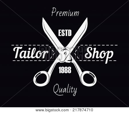 Tailor shop logo template. Dressmaker atelier and fashion dress tailoring designer salon vector icon of sewing tailor scissors and thread stitch on black background