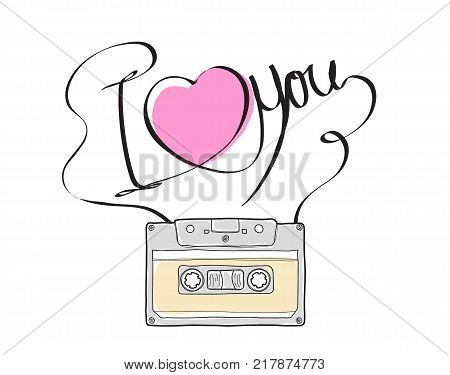 Compact Cassette or Musicassette and hand drawn i love you cassette tape audio cassette with analog magnetic tape vector illustration art