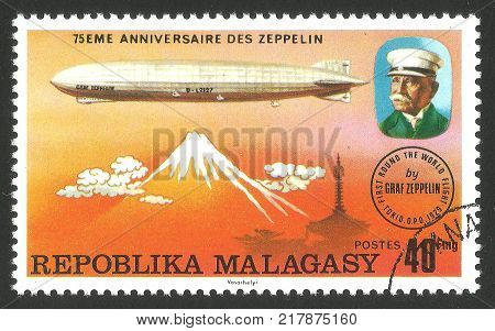 Malagasy Republic ( Madagascar ) - stamp printed 1976 Multicolor memorable Edition offset printing Topic Aviation Series 75 years Zeppelin airship Airship LZ -127 Graf Zeppelin over Japan