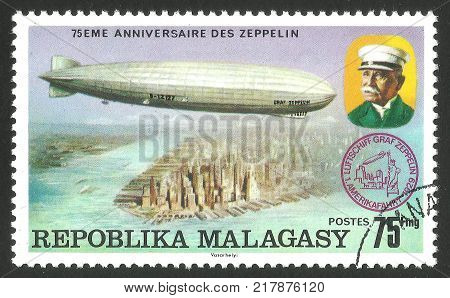 Malagasy Republic ( Madagascar ) - stamp printed 1976 Multicolor memorable Edition offset printing Topic Aviation Series 75 years Zeppelin airship Airship LZ -127 Graf Zeppelin over America