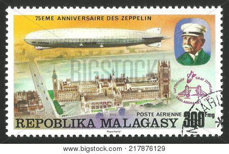 Malagasy Republic ( Madagascar ) - stamp printed 1976 Multicolor memorable Edition offset printing Topic Aviation Series 75 years Zeppelin airship Airship LZ -127 Graf Zeppelin over London