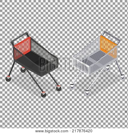 Isometric vector shopping trolley cart on transparent background. Vector empty supermarket trolley isolated. - stock vector