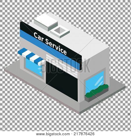Car Service building on transparent background. Flat banner with  car service tire service and car repair vector illustration