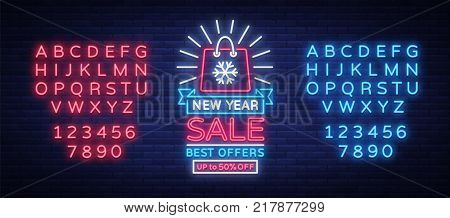 New Year Sale Card in Neon Style. Neon sign on New Year discounts. Happy New Year. Flyer, discount advertising, bright banner, flashing sign, neon text. Vector illustration. Editing text neon sign.