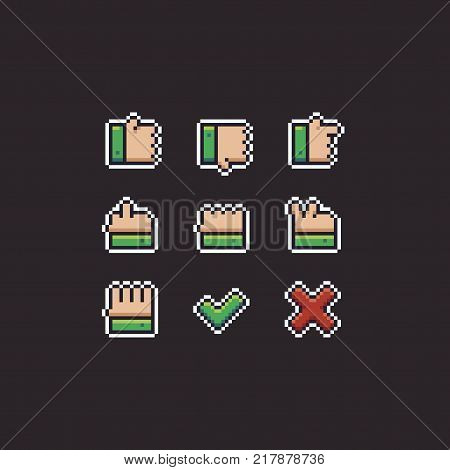 Pixel art hand gestures 8bit retro icons with black and white outlines on dark background