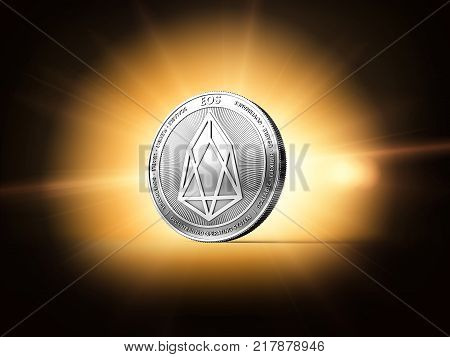 Silver EOS cryptocurrency single coin on orangish star burst background. Concept coin. 3D rendering