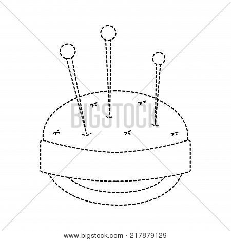 dotted shape pin and pincushion sewing tool object vector illustration