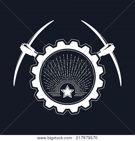 Emblem of the Mining Industry, Star and Sunburst in a Gear with Pickaxe on a Black Background , Label and Badge Mine Shaft, Vector Illustration