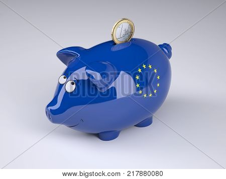 Piggy bank with Euro flag and one euro coin 3D illustration