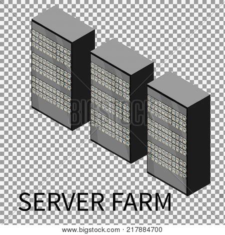 Server farm on transparent background. Isometric view of server, data center, server rack, computer server. Vector illustration