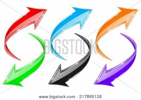 Arrows set. Colored curve signs. Vector 3d illustration isolated on white background