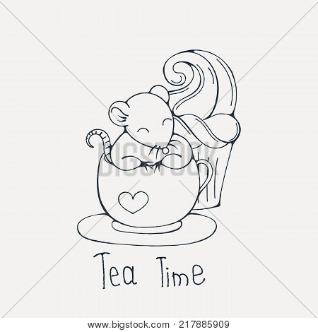 Illustration with cute rat in a cup of tea or coffee with cupcakes. Coloring page. Vector image.