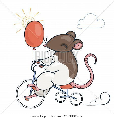 Illustration with a cheerful rat on a bike with balloon. Vector image.