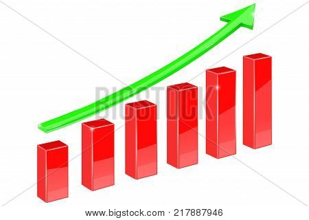 Financial chart, indication arrow UP. Vector 3d illustration isolated on white background