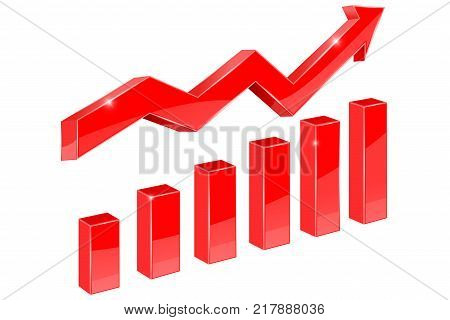 Red financial graph. Vector 3d illustration isolated on white background