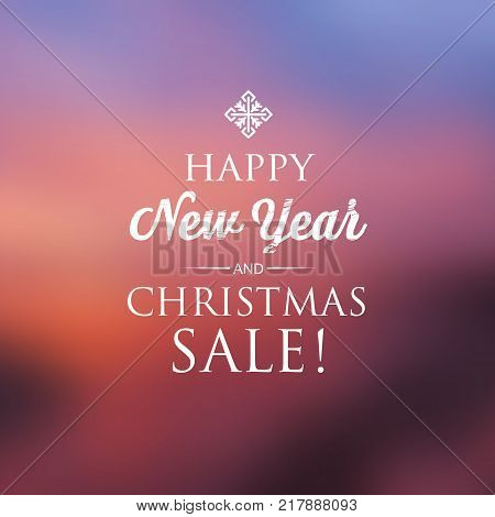 Happy New Year and christmas sale card with the creative snowflake upper  the text on the colourful  background vector illustration