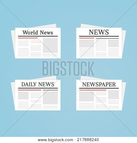 Newspaper icon set. World and daily news ui icons