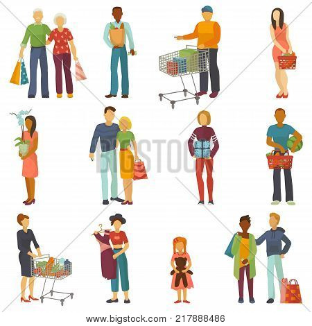 People shopping vector shopper buy with bag or shoppingcart in shop and custom character or buyer carrying shoppingbag buying in sale in store isolated on white background illustration.