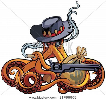 Vector colourful illustration of octopus in the broad-brim with handgun and bag with money in his tentacles isolated on white background. File doesn't contains gradients blends transparency and strokes or other special visual effects.