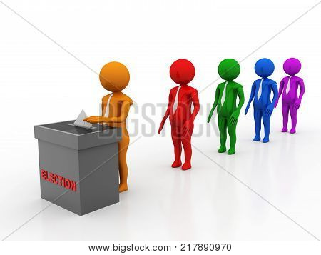 Voters inserts the envelope into ballot box. Concept of election, voting and polling, People waiting in line to vote isolated in white background. 3d illustration