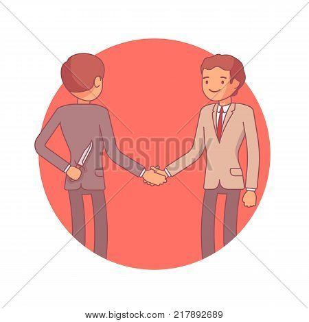 Hidden intentions at negotiations. Businessmen making a deal, shaking hands, one is holding a knife behind back, secret reason, bad plan or cunny motive. Vector business concept line art illustration
