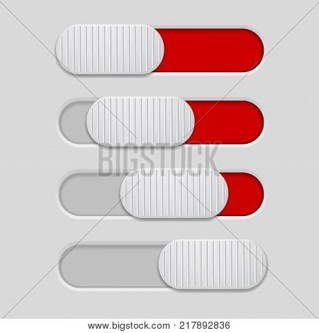 Interface slider. Red bar on light gray background. Vector illustration