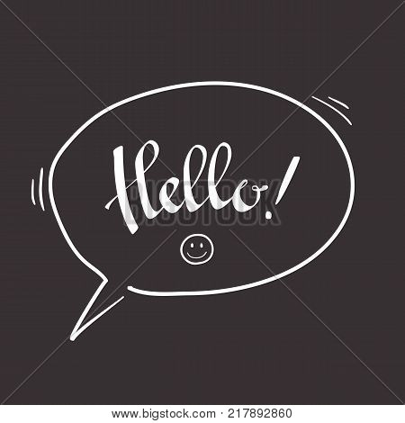 Hello hand lettering. Modern calligraphy Hello. Brush Pen lettering. Handwritten vector Illustration. Speech bubble, with smile