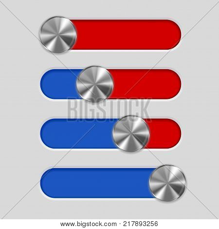 Control panel with slider bar. Blue and red. Vector 3d illustration