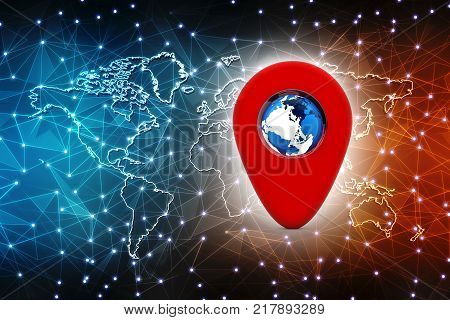 3d rendering Red map pointer with globe. navigation concept, Gps navigation, travel destination, location and positioning concept
