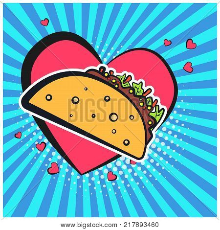 Bright retro comic speech bubble with taco symbol. Outline colorful tacos on lovely heart shape bubble with blue stripes and halftone background for advertisement design banner label menu