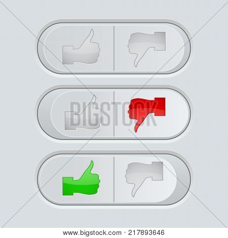 Thumbs Up and Thumbs Down toggle switch. Vector 3d illustration