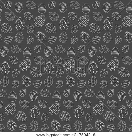 Monochrome Easter seamless pattern with gray outline eggs on black background. Ornamental doodle hand drawn eggs texture for Easter package gift wrapping paper textile banners covers